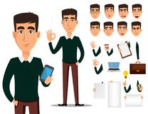 Sistema de la creación del personaje de dibujos animados del hombre de negocios ilustración del vector