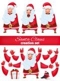 Sistema de la creación DIY del personaje de dibujos animados de Santa Claus Colección de diversos emociones y gestos stock de ilustración