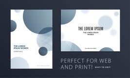 Sistema de la cubierta abstracta del folleto del diseño, aviador creativo en A4 con las formas redondas grises para calificar, eq stock de ilustración