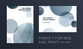 Sistema de la cubierta abstracta del folleto del diseño, aviador creativo en A4 con las formas redondas grises para calificar, eq ilustración del vector