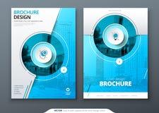 Sistema de la cubierta Plantilla azul para el folleto, la bandera, el plackard, el cartel, el informe, el catálogo, la revista, e ilustración del vector