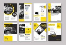 Sistema de la cubierta y del folleto amarillos de la disposición, aviador, cartel, r anual stock de ilustración