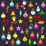 Sistema de la decoración aislada de la Navidad para ejemplo del vector de la bola de la Feliz Navidad y de la Feliz Año Nuevo Imagen de archivo
