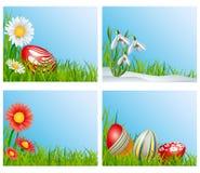 Sistema de la decoración de la esquina de Pascua Imágenes de archivo libres de regalías