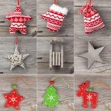 Sistema de la decoración de la Navidad Imagen de archivo libre de regalías