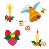 Sistema de la decoración de la Navidad stock de ilustración