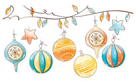Sistema de la decoración de la Navidad Foto de archivo libre de regalías