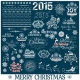 Sistema de la decoración de la Navidad dibujada mano y del Año Nuevo Fotografía de archivo libre de regalías