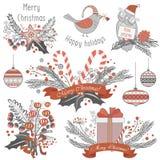 Sistema de la decoración del Año Nuevo y de la Navidad de regalos, de juguetes animales, de bolas caligráficas, de dulces y de em Fotografía de archivo