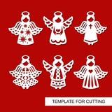 Sistema de la decoración de la Navidad - siluetas de ángeles ilustración del vector
