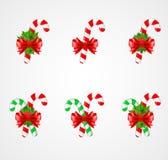 Sistema de la decoración tradicional del bastón de caramelo de la Navidad Fotos de archivo