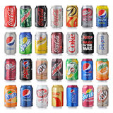 Sistema de la diversa marca de bebidas de la soda Fotografía de archivo