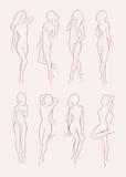 Sistema de la diversa silueta desnuda de la mujer Muchacha de pelo largo hermosa en diversas actitudes Ilustración drenada mano d Imágenes de archivo libres de regalías