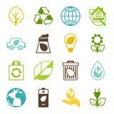 Sistema de la ecología de iconos del ambiente y de la contaminación Fotografía de archivo