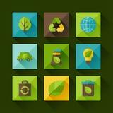 Sistema de la ecología de iconos del ambiente y de la contaminación Fotos de archivo libres de regalías