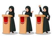 Sistema de la empresaria árabe en el vestido negro pronunciar un discurso detrás de la tribuna ilustración del vector