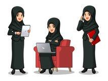 Sistema de la empresaria en traje negro con el velo que trabaja en los artilugios stock de ilustración