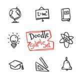 Sistema de la escuela del estilo del garabato del vector Colección dibujada mano linda de objetos de la educación Foto de archivo libre de regalías