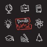 Sistema de la escuela del estilo del garabato del vector Colección dibujada mano linda de objetos de la educación Fotografía de archivo libre de regalías