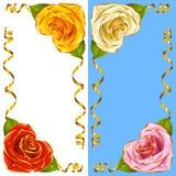 Sistema de la esquina de la ilustración del vector Rose Hearts y cintas de oro ilustración del vector