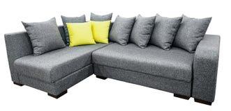 Sistema de la esquina del sofá de la tapicería con las almohadas aisladas en el fondo blanco con la trayectoria de recortes foto de archivo