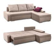 Sistema de la esquina del sofá de la tapicería con las almohadas aisladas con la trayectoria de recortes Fotografía de archivo libre de regalías