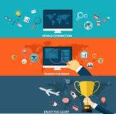 Sistema de la estrategia empresarial y del proceso creativo en diseño plano Imagen de archivo libre de regalías