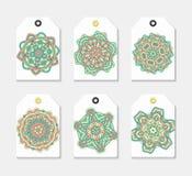 Sistema de la etiqueta 6 con la mandala Mandalas de la etiqueta engomada de la colección Imagen de archivo