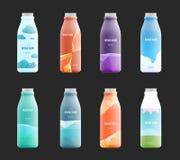 Sistema de la etiqueta del espacio en blanco de la plantilla para la botella del vidrio, plástica o de papel con nuevo diseño stock de ilustración