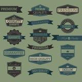 Sistema de la etiqueta del sello de calidad del vintage ilustración del vector