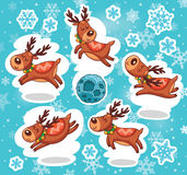 Sistema de la etiqueta engomada de la Navidad Reno Papá Noel Foto de archivo libre de regalías