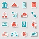 Sistema de la etiqueta engomada de las actividades bancarias stock de ilustración