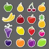 Sistema de la etiqueta engomada de los iconos de la fruta Imagen de archivo