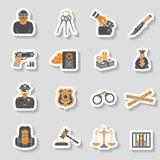 Sistema de la etiqueta engomada de los iconos del crimen y del castigo Imagenes de archivo