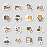 Sistema de la etiqueta engomada de los iconos del seguro Imágenes de archivo libres de regalías
