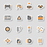 Sistema de la etiqueta engomada de los iconos del vector del servicio del coche Fotos de archivo