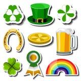 Sistema de la etiqueta engomada del día de St Patrick Fotografía de archivo libre de regalías