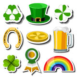 Sistema de la etiqueta engomada del día de St Patrick libre illustration