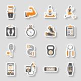 Sistema de la etiqueta engomada del icono de la aptitud Imágenes de archivo libres de regalías