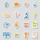 Sistema de la etiqueta engomada del icono de la educación Fotos de archivo