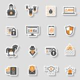 Sistema de la etiqueta engomada del icono de la seguridad de Internet Imagen de archivo