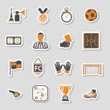 Sistema de la etiqueta engomada del icono del fútbol Foto de archivo