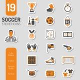 Sistema de la etiqueta engomada del icono del fútbol Imagen de archivo libre de regalías