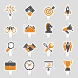 Sistema de la etiqueta engomada del icono de la estrategia empresarial Imagen de archivo