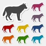 Sistema de la etiqueta engomada del lobo Foto de archivo libre de regalías