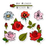 Sistema de la etiqueta engomada de las flores del verano Rose, margarita, amapola, amarilis stock de ilustración