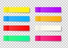 Sistema de la etiqueta engomada de la nota de los posts aislado en fondo transparente Papel ilustración del vector