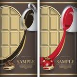 Sistema de la etiqueta para el chocolate blanco con el coffe y con la fresa Imagen de archivo libre de regalías