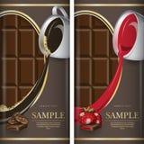 Sistema de la etiqueta para el chocolate oscuro con el coffe y con la fresa Foto de archivo libre de regalías