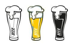 Sistema de la etiqueta retra del vidrio de cerveza Fotografía de archivo
